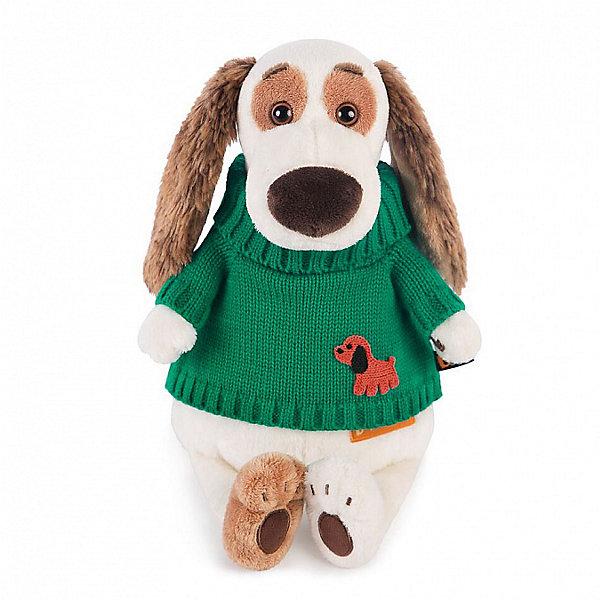 Мягкая игрушка Budi Basa Собака Бартоломей в зеленом свитере, 27 смСимвол 2018 года: Собака<br>Характеристики товара:<br><br>• возраст: от 3 лет;<br>• материал: текстиль, искусственный мех;<br>• высота игрушки: 27 см;<br>• размер упаковки: 28х16х13 см;<br>• вес упаковки: 392 гр.;<br>• страна производитель: Россия.<br><br>Мягкая игрушка «Бартоломей в зеленом свитере» Budi Basa — очаровательная мягкая собачка с длинными ушками, большим носиком и добрыми глазами.Собака одета в зеленый свитер. <br><br>Игрушка выполнена из качественного безопасного материала, настолько приятного и мягкого, что ребенок будет брать с собой собачку в кроватку и спать в обнимку.<br><br>Мягкую игрушку «Бартоломей в зеленом свитере» Budi Basa можно приобрести в нашем интернет-магазине.<br>Ширина мм: 160; Глубина мм: 130; Высота мм: 280; Вес г: 392; Возраст от месяцев: 36; Возраст до месяцев: 2147483647; Пол: Унисекс; Возраст: Детский; SKU: 7319997;
