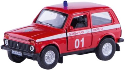 Коллекционная машинка Autotime Lada 4х4 Пожарная охрана 1:36