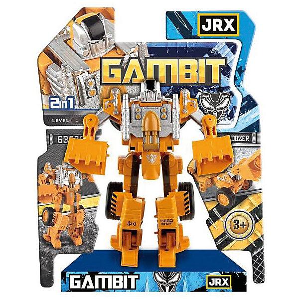 Робот-трансформер JRX Gambit, БульдозерТрансформеры-игрушки<br>Характеристики товара:<br><br>• возраст: от 3 лет;<br>• материал: пластик, металл;<br>• высота робота: 15 см;<br>• размер упаковки: 27х22х8 см;<br>• вес упаковки: 326 гр.;<br>• страна производитель: Китай.<br><br>Трансформер-строитель «Gambit Бульдозер» JRX представляет собой робота, который способен трансформироваться в строительный бульдозер с ковшом. Трансформация происходит легко и просто, занимает всего пару минут и не создаст трудностей даже для маленьких детей. Игрушка выполнена из качественного безопасного пластика.<br><br>Трансформера-строителя «Gambit Бульдозер» JRX можно приобрести в нашем интернет-магазине.<br>Ширина мм: 270; Глубина мм: 220; Высота мм: 80; Вес г: 326; Возраст от месяцев: 36; Возраст до месяцев: 2147483647; Пол: Мужской; Возраст: Детский; SKU: 7320097;