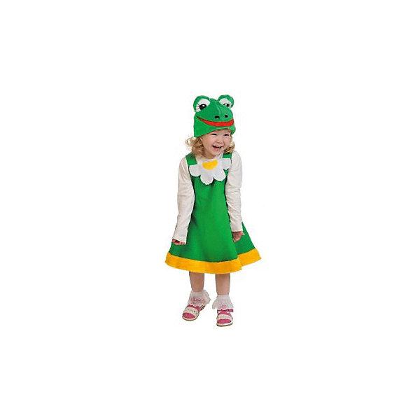 Костюм Лягушка, рост 100-125Карнавальные костюмы для девочек<br>Карнавальный костюм Лягушка - привлекательный наряд для тематического вечера и новых необычных идей. Костюмчик предназначен для девочки, но это не значит, что малышка должна играть противную жабу. Поставив свою версию Царевны-Лягушки, девочка сможет сыграть главную роль, будучи прекрасной принцессой, что ей очень понравится.<br><br>Костюм сделан из качественных и плотных материалов. С помощью этого предложения можно улучшить и разнообразить оригинальный тематический детский праздник, который запомнится на долгие годы.<br><br>Ширина мм: 280<br>Глубина мм: 40<br>Высота мм: 290<br>Вес г: 200<br>Возраст от месяцев: 36<br>Возраст до месяцев: 2147483647<br>Пол: Женский<br>Возраст: Детский<br>SKU: 7320395