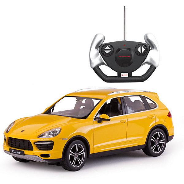 Радиоуправляемая машина Rastar Porsche Cayenne Turbo 1:14, желтаяРадиоуправляемые машины<br>Характеристики товара:<br><br>• серия: Porsche;<br>• возраст: от 3 лет;<br>• цвет: желтый;<br>• масштаб: 1:14;<br>В комплекте:<br>• машина; <br>• пульт дистанционного управления;<br>• инструкция;<br>• наличие батареек: не входят в комплект;<br>• тип батареек: 5 х 1,5V AA (пальчиковые), 1 х 9V типа Крона;<br>• дальность действия: 45 м.;<br>• из чего сделана игрушка (состав): пластмасса, элементы из металла, резина;<br>• размер упаковки: 45,5х21,5х19,5 см;<br>• размер машинки: 34,6х13,9х12,2 см.;<br>• вес: 1,6 кг.;<br>• максимальная скорость: 7 км/ч.;<br>• упаковка: картонная коробка с блистером;<br>• страна-производитель: КНР.<br><br>Все дети хотят иметь в наборе своих игрушек ослепительные, невероятные и крутые автомобили на радиоуправлении. Тем более если это автомобиль известной марки с проработкой всех деталей, удивляющий приятным качеством и видом. <br><br>Одной из таких моделей является автомобиль на радиоуправлении Porsche Cayenne Turbo. Это точная копия настоящего авто в масштабе 1:14. Авто обладает неповторимым провокационным стилем и спортивным характером. А серьезные габариты придают реалистичность в управлении. Автомобиль отличается потрясающей маневренностью, динамикой и покладистостью. При движении у машины автоматически зажигаются передние/задние фары (в зависимости от направления движения).<br><br>Управлять таким высококлассным автомобилем — сплошное удовольствие! С машинкой можно играть одному и с друзьями, соревнуясь в скорости и маневренности!<br><br>Машину Porsche Cayenne Turbo 1:14 со светом, на радио управлении, RASTAR можно купить в нашем интернет-магазине.<br><br>Ширина мм: 9999<br>Глубина мм: 9999<br>Высота мм: 9999<br>Вес г: 1620<br>Возраст от месяцев: 36<br>Возраст до месяцев: 2147483647<br>Пол: Мужской<br>Возраст: Детский<br>SKU: 7320819