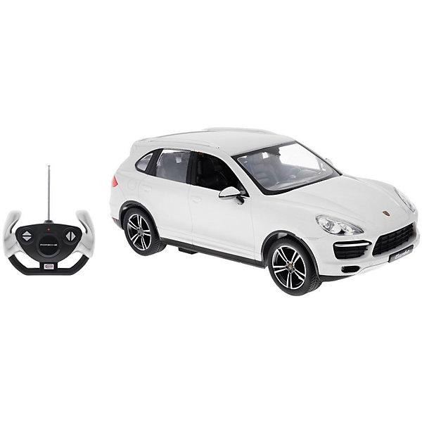 Радиоуправляемая машина Rastar Porsche Cayenne Turbo 1:14, белаяРадиоуправляемые машины<br>Характеристики товара:<br><br>• серия: Porsche;<br>• возраст: от 3 лет;<br>• цвет: белый;<br>• масштаб: 1:14;<br>В комплекте:<br>• машина; <br>• пульт дистанционного управления;<br>• инструкция;<br>• наличие батареек: не входят в комплект;<br>• тип батареек: 5 х 1,5V AA (пальчиковые), 1 х 9V типа Крона;<br>• дальность действия: 45 м.;<br>• из чего сделана игрушка (состав): пластмасса, элементы из металла, резина;<br>• размер упаковки: 45,5х21,5х19,5 см;<br>• размер машинки: 34,6х13,9х12,2 см.;<br>• вес: 1,6 кг.;<br>• максимальная скорость: 7 км/ч.;<br>• упаковка: картонная коробка с блистером;<br>• страна-производитель: КНР.<br><br>Все дети хотят иметь в наборе своих игрушек ослепительные, невероятные и крутые автомобили на радиоуправлении. Тем более если это автомобиль известной марки с проработкой всех деталей, удивляющий приятным качеством и видом. <br><br>Одной из таких моделей является автомобиль на радиоуправлении Porsche Cayenne Turbo. Это точная копия настоящего авто в масштабе 1:14. Авто обладает неповторимым провокационным стилем и спортивным характером. А серьезные габариты придают реалистичность в управлении. Автомобиль отличается потрясающей маневренностью, динамикой и покладистостью. При движении у машины автоматически зажигаются передние/задние фары (в зависимости от направления движения).<br><br>Управлять таким высококлассным автомобилем — сплошное удовольствие! С машинкой можно играть одному и с друзьями, соревнуясь в скорости и маневренности!<br><br>Машину Porsche Cayenne Turbo 1:14 со светом, на радио управлении, RASTAR можно купить в нашем интернет-магазине.<br><br>Ширина мм: 9999<br>Глубина мм: 9999<br>Высота мм: 9999<br>Вес г: 1620<br>Возраст от месяцев: 36<br>Возраст до месяцев: 2147483647<br>Пол: Мужской<br>Возраст: Детский<br>SKU: 7320821