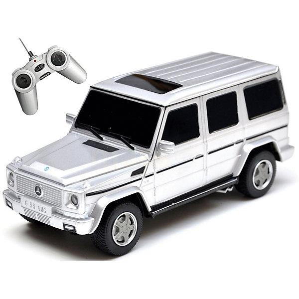 Радиоуправляемая машина Rastar Mersedes G55 1:24, серебрянаяРадиоуправляемые машины<br>Характеристики товара:<br><br>• серия: Mercedes;<br>• возраст: от 3 лет;<br>• цвет: серебристый;<br>• масштаб: 1:24;<br>В комплекте:<br>• машина; <br>• пульт дистанционного управления;<br>• инструкция;<br>• наличие батареек: не входят в комплект;<br>• тип батареек: 5 х AA / LR6 1.5V (пальчиковые);<br>• дальность действия: 15-45 м.;<br>• из чего сделана игрушка (состав): металл, пластик, резина;<br>• размер упаковки: 28,5х14х12 см;<br>• размер машинки: 19,4х7х8 см.;<br>• вес: 0,53 кг.;<br>• максимальная скорость: 7 км/ч.;<br>• упаковка: картонная коробка с блистером;<br>• страна-производитель: КНР.<br><br>Радиоуправляемая модель автомобиля Mercedes G55 AMG от компании Rastar выполнена в масштабе 1:24 из металла с пластмассовыми деталями. Внешне модель практически полностью повторяет оригинальную версию. Работает машинка от батареек АА. Обращаем ваше внимание, что батарейки в комплект не входят. Машинка осуществляет движение: вперед-назад, вправо-влево. Конструктивные особенности: свет фар.<br><br>Управлять таким высококлассным автомобилем — сплошное удовольствие! С машинкой можно играть одному и с друзьями, соревнуясь в скорости и маневренности!<br><br>Машину Mercedes G55 AMG 1:24 со светом, на радио управлении, RASTAR можно купить в нашем интернет-магазине.<br><br>Ширина мм: 9999<br>Глубина мм: 9999<br>Высота мм: 9999<br>Вес г: 530<br>Возраст от месяцев: 36<br>Возраст до месяцев: 2147483647<br>Пол: Унисекс<br>Возраст: Детский<br>SKU: 7320915