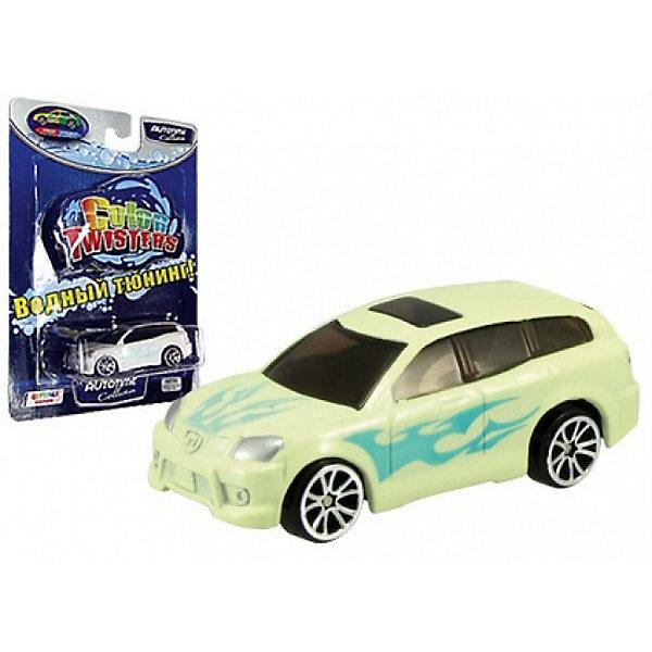 Металлическая машинка Autotime Color Twisters Water Chameleon AllroadМашинки<br>Характеристики:<br><br>• возраст: от 3 лет;<br>• тип игрушки: легковой транспорт;<br>• особенности: машинка меняет цвет в воде;<br>• материал: пластик, металл;<br>• размер: 12,7х17,8х3,8 см;<br>• страна бренда: США;<br>• страна производитель: Китай;<br>• тип упаковки: блистер на картоне;<br>• бренд: Autogrand.<br><br>Машина от бренда Autogrand «COLOR TWISTERS WATER CHAMELEON ALLROAD»- это новое поколение машинок. Это связанно с тем, что корпус машинок имеет свойство менять цвет и дизайн в зависимости от температуры воды, в которую машинки попадают. Изначально машинка белого цвета с синей аэрограффией. <br><br>Цвет автомобиля меняется при изменении температуры. Для того, чтобы быстро изменить цвет корпуса автомобиля, нужно просто опустить его в горячую или холодную воду. При комнатной температуре она постепенно будет возвращаться в свой цвет. Чтобы моментально вернуть первоначальный вид автомобиля, достаточно просто опустить его в горячую воду. Если холодная вода попадает не на весь корпус, а частично, цвет будут менять только те части автомобиля, на которые попадала вода. Машина изготовлена из литого металла и пластмассы.<br><br>Машинка сделана из безопасных материалов. Так же красители, которыми окрашены все части автомобиля являются гипоаллергенными и не навредят здоровью ребенка. Игрушка прошла все необходимые проверки и получили все сертификаты качества.<br><br>Машину от бренда Autogrand «COLOR TWISTERS WATER CHAMELEON ALLROAD» можно купить в нашем интернет-магазине.<br><br>Ширина мм: 127<br>Глубина мм: 178<br>Высота мм: 38<br>Вес г: 70<br>Возраст от месяцев: 36<br>Возраст до месяцев: 2147483647<br>Пол: Мужской<br>Возраст: Детский<br>SKU: 7321057