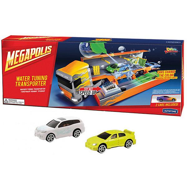 Автомойка в грузовике Autotime Color twisters water Rasing Transporter-1, с 2-мя машинкамиМашинки<br>Характеристики:<br><br>• возраст: от 3 лет;<br>• тип игрушки: легковой транспорт;<br>• особенности: машинка меняет цвет в воде;<br>• материал: пластик, металл;<br>• размер: 45,7х17,8х5,1 см;<br>• вес: 665 гр;<br>• страна бренда: США;<br>• страна производитель: Китай;<br>• тип упаковки: коробка с окошком;<br>• бренд: Autogrand.<br><br>Машина Autogrand «COLOR TWISTERS WATER RACING TRANSPORTER-1» ассортимент - это новое поколение машинок. Это связанно с тем, что корпус машинок имеет свойство менять цвет и дизайн в зависимости от температуры воды, в которую машинки попадают.  <br><br>Цвет автомобиля меняется при изменении температуры. Для того, чтобы быстро изменить цвет корпуса автомобиля, нужно просто опустить его в горячую или холодную воду. При комнатной температуре она постепенно будет возвращаться в свой цвет. Чтобы моментально вернуть первоначальный вид автомобиля, достаточно просто опустить его в горячую воду. Если холодная вода попадает не на весь корпус, а частично, цвет будут менять только те части автомобиля, на которые попадала вода. <br><br>Машина изготовлена из литого металла и пластмассы. Машинка сделана из безопасных материалов. В комплекте грузовик, аксессуары, 2 машинки. Так же красители, которыми окрашены все части автомобиля являются гипоаллергенными и не навредят здоровью ребенка. Игрушка прошла все необходимые проверки и получили все сертификаты качества.<br><br>Машину от бренда Autogrand «COLOR TWISTERS WATER RACING TRANSPORTER-1» можно купить в нашем интернет-магазине.<br><br>Ширина мм: 457<br>Глубина мм: 178<br>Высота мм: 51<br>Вес г: 665<br>Возраст от месяцев: 36<br>Возраст до месяцев: 2147483647<br>Пол: Мужской<br>Возраст: Детский<br>SKU: 7321062