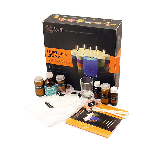 Набор для  опытов по химии Трюки науки Цветные свечиХимия и физика<br>Характеристики товара:<br><br>• возраст: от 10 лет;<br>• материал: стекло, пластик, резина, керамика;<br>• размер упаковки: 25х25х8 см.;<br>• упаковка: картонная коробка;<br>• вес в упаковке: 540 гр.;<br>• бренд, страна: ТМ «Трюки науки», Россия.<br><br>Набор экспериментов для детей «Цветные свечи» включает в себя три увлекательных эксперимента по созданию цветных свечей, люминофорные свечей и горелки с цветным пламенем.<br><br>Можно изготовить парафиновые свечи ручной работы с удивительными эффектами и оригинальным внешним видом. Многослойные цветные свечи, свечи, которые даже незажжённые светятся в темноте, жидкие прозрачные свечи с волшебным зелёным или красным огнём украсят любой интерьер.<br><br>В составе набора настоящее лабораторное оборудование, реагенты, рассчитанные на многократное использование, компоненты, произведённые в РФ, подробная и понятная инструкция, с интересными фактами и познавательной информацией.<br><br>Рекомендуемый возраст: от 12 лет, строго под наблюдением взрослых.<br><br>Увлекательные и зрелищные химические опыты, российского производителя ТМ «Трюки науки», несмотря на простоту, носят обучающий характер, знакомят со свойствами различных химических веществ и их взаимодействием друг с другом. Все опыты разработаны профессиональными химиками и педагогами с учётом интересов детей.<br><br>Набор экспериментов для детей «Цветные свечи» , 3 опыта,  ТМ «Трюки науки» можно купить в нашем интернет-магазине.<br>Ширина мм: 250; Глубина мм: 250; Высота мм: 80; Вес г: 540; Возраст от месяцев: 120; Возраст до месяцев: 2147483647; Пол: Унисекс; Возраст: Детский; SKU: 7321295;