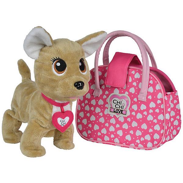 Интерактивная мягкая игрушка Simba Chi-Сhi Love Собачка Счастливчик с сумочкой, 20 смСимвол года<br>Характеристики товара:<br><br>• возраст: от 5 лет;<br>• цвет: бежевый, розовый;<br>• комплект: собачка, сумочка;<br>• высота игрушки: 20 см.;<br>• наличие батареек: входят в комплект.<br>• тип батареек: 3 x AA / LR6 1.5V (пальчиковые).<br>• состав: пластик, текстиль, наполнитель;<br>• упаковка: картонная коробка блистерного типа;<br>• вес в упаковке: 400 гр.;<br>• бренд, страна: Simba, Германия.<br><br>Интерактивная плюшевая собачка «Чи-Чи Лав. Счастливчик» вызовет восторг у любой девочки. <br><br>Очаровательный щенок впечатляет выразительными глазками и поражает воображение удивительным функционалом. Благодаря встроенному модулю, интерактивный песик может забавно лаять и двигаться, как настоящий.<br><br>Комплект также включает в себя стильную сумочку, которая найдет свое применение в качестве сумки-переноски для щенка и пригодится для прогулок на свежем воздухе.<br><br>Игрушки от бренда Simba выполнены из высокачественного гипоаллергенного материала безвредного для детского здоровья.<br><br>Счастливчик крутит головой, ходит, виляет хвостом, лает или рычит, реагирует на 12 голосовых команд: 1- Привет!; 2 -Иди сюда!; 3 -Хочешь поиграть?; 4 -Голос!; 5 -Гулять!; 6- Внимание!; 7- Молодец!; 8 -Танцуй!; 9 -Где кошка?; 10- Ты такая милая; 11- Я тебя люблю; 12 -Хорошая собачка<br><br>Интерактивную плюшевую собачку «Чи-Чи Лав. Счастливчик», 20 см,   Simba можно купить в нашем интернет-магазине.<br><br>Ширина мм: 150<br>Глубина мм: 260<br>Высота мм: 200<br>Вес г: 400<br>Возраст от месяцев: 60<br>Возраст до месяцев: 168<br>Пол: Женский<br>Возраст: Детский<br>SKU: 7322618