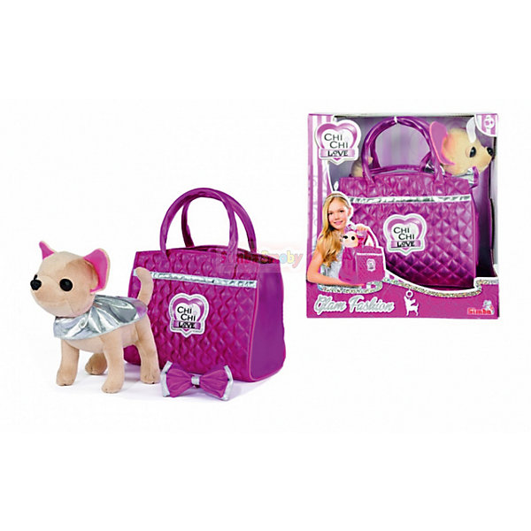 Мягкая игрушка Simba Chi-Сhi Love Собачка Чихуахуа Гламур с сумочкой, 20 смМягкие игрушки-собаки<br>Характеристики товара:<br><br>• возраст: от 5 лет;<br>• цвет: бежевый, розовый;<br>• комплект: собачка, накидка, браслет, сумочка;<br>• высота игрушки: 20 см.;<br>• состав: пластик, текстиль, наполнитель;<br>• упаковка: картонная коробка блистерного типа;<br>• вес в упаковке: 780 гр.;<br>• бренд, страна: Simba, Германия.<br><br>Плюшевая собачка «Чи-Чи Лав. Гламур»-  комплект включает в себя плюшевую чихуахуа в натуральную величину, а также модные аксессуары и сумочку. <br><br>Мягкая игрушка имеет высотой 20 см., очень приятна на ощупь. Лапки собачки свободно гнутся, что позволяет придавать ей различные эффектные позы. Помимо этого в комплекте имеется розовая сумочка и стильный браслет с бантом. Благодаря этому набору девочка сможет почувствовать себя настоящей гламурной модницей.<br><br>Комплект может послужить ребенку отличным подарком, который не останется у него без внимания. Игрушки от бренда Simba выполнены из высокачественного гипоаллергенного материала безвредного для детского здоровья.<br><br>Плюшевую собачку «Чи-Чи Лав. Гламур», 20 см,  Simba можно купить в нашем интернет-магазине.<br>Ширина мм: 180; Глубина мм: 300; Высота мм: 300; Вес г: 780; Возраст от месяцев: 60; Возраст до месяцев: 168; Пол: Женский; Возраст: Детский; SKU: 7322623;