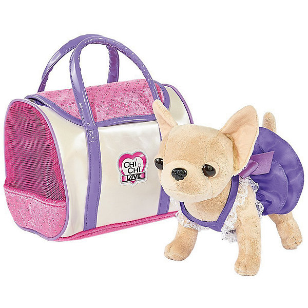 Мягкая игрушка Simba Chi-Сhi Love Собачка Чихуахуа в платье с сумочкой, 20 смСимвол 2018 года: Собака<br>Характеристики товара:<br><br>• возраст: от 5 лет;<br>• цвет: бежевый, розовый;<br>• комплект: собачка, сумочка;<br>• высота игрушки: 20 см.;<br>• состав: пластик, текстиль, наполнитель;<br>• упаковка: картонная коробка блистерного типа;<br>• вес в упаковке: 800 гр.;<br>• бренд, страна: Simba, Германия.<br><br>Плюшевая собачка «Чи-Чи Лав. Стайл»-  комплект включает в себя плюшевую чихуахуа в натуральную величину, и сумочку. <br><br>Собачка сшита из приятной на ощупь ткани и плюша. Глазки изготовлены из черного пластика. На игрушечной собаке милое фиолетовое платье с кружевами. Ее можно положить в сумку, которая подойдет в качестве переноски. <br><br>В игровой форме ребенок познакомится с окружающим миром и научит проявлять заботу. С помощью собачки можно разыгрывать интересные истории про животных. Игра с ней поможет поднять ребенку настроение.<br><br>Комплект может послужить ребенку отличным подарком, который не останется у него без внимания. Игрушки от бренда Simba выполнены из высокачественного гипоаллергенного материала безвредного для детского здоровья.<br><br>Плюшевую собачку «Чи-Чи Лав. Стайл», 20 см,  Simba можно купить в нашем интернет-магазине.<br><br>Ширина мм: 290<br>Глубина мм: 300<br>Высота мм: 300<br>Вес г: 800<br>Возраст от месяцев: 60<br>Возраст до месяцев: 168<br>Пол: Женский<br>Возраст: Детский<br>SKU: 7322624