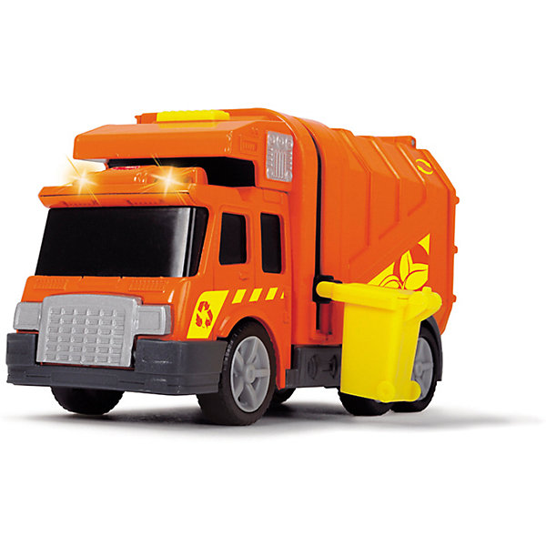 Машинка Dickie Мусоровоз со светом и звуком, 15 смМашинки<br>Характеристики товара:<br><br>• возраст: от 3 лет;<br>• цвет: оранжевый;<br>• длина игрушки: 15 см.;<br>• наличие батареек: входят в комплект;<br>• тип батареек: 3 x LR41 1.5V.;<br>• состав: пластмасса;<br>• упаковка: картонная коробка открытого типа;<br>• вес в упаковке: 218 гр.;<br>• бренд, страна: Dickie, Германия.<br><br>Инерционная машинка со светом и звуком «Мусоровоз» будет вывозить из детской не только игрушечный, но и настоящий мусор. Отличный подарок для приучения своих детей к чистоте и порядку.<br><br>Такая машинка обязательно найдет свое почетное место в коллекции ребенка, ведь с ней можно поиграть в интересные сюжетно-ролевые игры. Сочный оранжевый и яркий желтый цвета непременно привлекут к себе внимание ребенка, а световые и звуковые эффекты помогут сделать игру еще более интересной.  <br><br>Игрушки от бренда Dickie выполнены из высокачественного гипоаллергенного материала безвредного для детского здоровья.<br><br>Инерционную машинку со светом и звуком «Мусоровоз», 15 см,  Dickie можно купить в нашем интернет-магазине.<br>Ширина мм: 98; Глубина мм: 195; Высота мм: 127; Вес г: 218; Возраст от месяцев: 36; Возраст до месяцев: 168; Пол: Мужской; Возраст: Детский; SKU: 7322626;