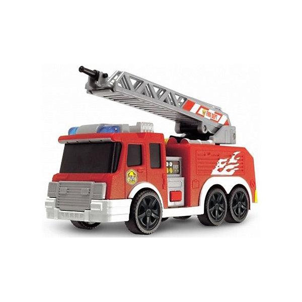 Машинка Dickie Пожарная машина с водой, 15 смМашинки<br>Характеристики товара:<br><br>• возраст: от 3 лет;<br>• цвет: красный;<br>• длина игрушки: 15 см.;<br>• наличие батареек: входят в комплект;<br>• тип батареек: 3 x AG13 / LR41 (миниатюрные);<br>• состав: пластмасса;<br>• упаковка: картонная коробка открытого типа;<br>• вес в упаковке: 300 гр.;<br>• бренд, страна: Dickie, Германия.<br><br>Инерционная игрушка со светом и звуком «Пожарная машина» поможет ребенку сделать игровой сюжет более захватывающим. Пожарная машинка представлена в размере 15 см в длину и изготовлена из прочного пластика. Она дополнена подвижными колесами и вышкой, при помощи которой можно спасти выдуманных персонажей в игрушечном городе.<br><br>Машинка дополнена эффектами света и звука, а также имеет водяную помпу, которая срабатывает от нажатия на кнопку внутри салона. При помощи таких эффектов, играть с такой машинкой будет еще интереснее. Такая игрушечная пожарная машинка с инерционным двигателем порадует мальчика и поможет придумать множество игр.<br><br>Игрушки от бренда Dickie выполнены из высокачественного гипоаллергенного материала безвредного для детского здоровья.<br><br>Инерционную игрушку со светом и звуком «Пожарная машина», 15 см,  Dickie можно купить в нашем интернет-магазине.<br><br>Ширина мм: 98<br>Глубина мм: 195<br>Высота мм: 127<br>Вес г: 300<br>Возраст от месяцев: 36<br>Возраст до месяцев: 168<br>Пол: Мужской<br>Возраст: Детский<br>SKU: 7322627
