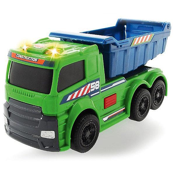 Машинка Dickie Грузовик со светом и звуком, 15 смМашинки<br>Характеристики товара:<br><br>• возраст: от 3 лет;<br>• цвет: зеленый, серый;<br>• длина игрушки: 15 см.;<br>• наличие батареек: входят в комплект;<br>• тип батареек: 3 x AG3 / LR41 (миниатюрные);<br>• состав: пластмасса;<br>• упаковка: картонная коробка открытого типа;<br>• вес в упаковке: 200 гр.;<br>• бренд, страна: Dickie, Германия.<br><br>Инерционная игрушка со светом и звуком «Грузовик» поможет ребенку сделать игровой сюжет более захватывающим. Представлена в размере 15 см в длину и изготовлена из прочного пластика. <br><br>Представляет собой небольшую машинку со световыми и звуковыми эффектами. Это мощный озвученный самосвал с подвижным кузовом, на его кабине горят огни. Такая реалистичная и интересная машинка придется по душе любому мальчику. <br><br>Игрушки от бренда Dickie выполнены из высокачественного гипоаллергенного материала безвредного для детского здоровья.<br><br>Инерционную игрушку со светом и звуком «Грузовик», 15 см,  Dickie можно купить в нашем интернет-магазине.<br>Ширина мм: 98; Глубина мм: 195; Высота мм: 127; Вес г: 200; Возраст от месяцев: 36; Возраст до месяцев: 168; Пол: Мужской; Возраст: Детский; SKU: 7322629;