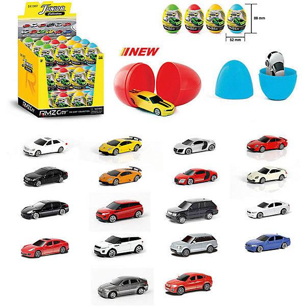 Яйцо-сюрприз RMZ City Junior Collections 1:64, в ассортиментеМашинки<br>Характеристики:<br><br>• возраст: от 3 лет;<br>• тип игрушки: легковой транспорт;<br>• вес: 60 гр;<br>• материал: пластик, металл;<br>• размер: 9х7х7 см;<br>• тип упаковки: картон с блистерной вставкой;<br>• бренд: RMZ City<br><br>Машина металлическая RMZ City 1:64 в яйце, 9 моделей в ассортименте, 36шт в дисплейной коробке станет отличным подарком для мальчиков от трех лет и старше. Такой набор включает в себя машинки разных цветов, небольшого размера.<br><br>Особенность игрушки состоит в том, что машинка спрятана в яйце. Коллекционные машинки порадуют любителей автогонок, ведь из них можно собрать целый автопарк. Машина отлично развивает скорость на гладкой поверхности, если ее подтолкнуть, и в точности повторяет внешний вид настоящего автомобиля. <br><br>Машинка сделана из безопасных материалов. <br>Так же красители, которыми окрашены все части автомобиля являются гипоаллергенными и не навредят здоровью ребенка. Игрушка прошла все необходимые проверки и получили все сертификаты качества.<br><br>Машину металлическую RMZ City 1:64 в яйце, 9 моделей в ассортименте, 36шт в дисплейной коробке можно купить в нашем интернет-магазине.<br>Ширина мм: 90; Глубина мм: 70; Высота мм: 70; Вес г: 60; Возраст от месяцев: 36; Возраст до месяцев: 120; Пол: Мужской; Возраст: Детский; SKU: 7322644;