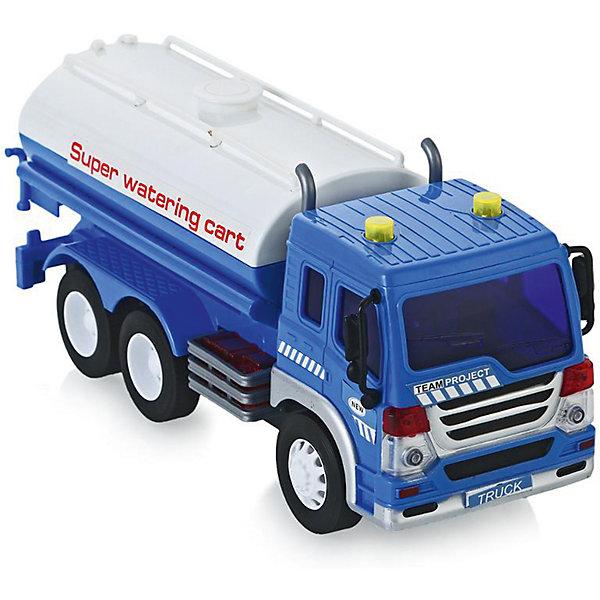 Машина Dave Toys Junior Tracker Водовоз 1:16, свет, звукМашинки<br>Характеристики:<br><br>• возраст: от 3 лет;<br>• тип игрушки: водовоз;<br>• вес: 1,25 кг;<br>• масштаб: 1:16;<br>• цвет: синий, белый;<br>• особенности: инерционная, световые, звуковые эффекты;<br>• материал: пластик, металл;<br>• размер: 32,6х11,5х18,6 см;<br>• тип упаковки: коробка;<br>• бренд: Dave Toys.<br><br>Водовоз 1:16 станет отличным подарком для мальчиков от трех лет и старше. Такой набор включает в себя большой водовоз синего цвета с белыми вставками.  Упаковка сделана подходит в качестве подарочной.<br><br>Особенность игрушки состоит в том, что машинка инерционная, а также имеет световые и звуковые эффекты. Коллекционные машинки порадуют любителей автогонок, ведь из них можно собрать целый автопарк. <br><br>Игрушка характеризуется механическим воздействием, детали машинки приводятся в движение, что создает реалистичные действия реально работающей машины спецтехники. Масштаб машины 1:16. Работает водовоз от батареек, которые находятся в комплекте.<br><br>Машинка сделана из безопасных материалов. Так же красители, которыми окрашены все части автомобиля являются гипоаллергенными и не навредят здоровью ребенка. Игрушка прошла все необходимые проверки и получили все сертификаты качества.<br><br>Водовоз 1:16 можно купить в нашем интернет-магазине.<br>Ширина мм: 326; Глубина мм: 115; Высота мм: 186; Вес г: 1250; Возраст от месяцев: 36; Возраст до месяцев: 120; Пол: Мужской; Возраст: Детский; SKU: 7322657;