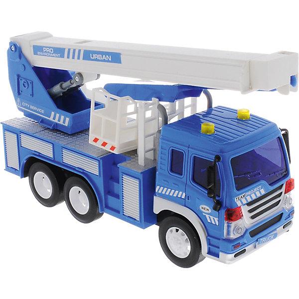 Машина Dave Toys Junior Tracker Кран 1:16, свет, звукМашинки<br>Характеристики:<br><br>• возраст: от 3 лет;<br>• тип игрушки: водовоз;<br>• вес: 1,25 кг;<br>• масштаб: 1:16;<br>• цвет: синий;<br>• особенности: инерционная, световые, звуковые эффекты;<br>• материал: пластик, металл;<br>• размер: 32,6х11,5х18,6 см;<br>• тип упаковки: коробка;<br>• бренд: Dave Toys.<br><br>Кран  1:16  станет отличным подарком для мальчиков от трех лет и старше. Такой набор включает в себя большой кран синего цвета.  Упаковка сделана подходит в качестве подарочной.<br><br>Особенность игрушки состоит в том, что машинка инерционная, а также имеет световые и звуковые эффекты. Коллекционные машинки порадуют любителей автогонок, ведь из них можно собрать целый автопарк. <br><br>Игрушка характеризуется механическим воздействием, детали машинки приводятся в движение, что создает реалистичные действия реально работающей машины спецтехники. Масштаб машины 1:16. Работает водовоз от батареек, которые находятся в комплекте.<br><br>Машинка сделана из безопасных материалов. Так же красители, которыми окрашены все части автомобиля являются гипоаллергенными и не навредят здоровью ребенка. Игрушка прошла все необходимые проверки и получили все сертификаты качества.<br><br>Кран 1:16 можно купить в нашем интернет-магазине.<br>Ширина мм: 326; Глубина мм: 115; Высота мм: 186; Вес г: 1250; Возраст от месяцев: 36; Возраст до месяцев: 120; Пол: Мужской; Возраст: Детский; SKU: 7322660;