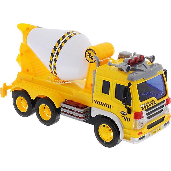 Машина Dave Toys Junior Tracker Бетономешалка 1:16, свет, звукМашинки<br>Характеристики:<br><br>• возраст: от 3 лет;<br>• тип игрушки: водовоз;<br>• вес: 1,25 кг;<br>• масштаб: 1:16;<br>• цвет: желтый;<br>• особенности: инерционная, световые, звуковые эффекты;<br>• материал: пластик, металл;<br>• размер: 32,6х11,5х18,6 см;<br>• тип упаковки: коробка;<br>• бренд: Dave Toys.<br><br>Бетономешалка 1:16  станет отличным подарком для мальчиков от трех лет и старше. Такой набор включает в себя большой бетономешалку желтого цвета.  Упаковка сделана подходит в качестве подарочной.<br><br>Особенность игрушки состоит в том, что машинка инерционная, а также имеет световые и звуковые эффекты. Коллекционные машинки порадуют любителей автогонок, ведь из них можно собрать целый автопарк. <br><br>Игрушка характеризуется механическим воздействием, детали машинки приводятся в движение, что создает реалистичные действия реально работающей машины спецтехники. Масштаб машины 1:16. Работает водовоз от батареек, которые находятся в комплекте.<br><br>Машинка сделана из безопасных материалов. Так же красители, которыми окрашены все части автомобиля являются гипоаллергенными и не навредят здоровью ребенка. Игрушка прошла все необходимые проверки и получили все сертификаты качества.<br><br>Бетономешалку 1:16 можно купить в нашем интернет-магазине.<br>Ширина мм: 326; Глубина мм: 115; Высота мм: 186; Вес г: 1250; Возраст от месяцев: 36; Возраст до месяцев: 120; Пол: Мужской; Возраст: Детский; SKU: 7322662;