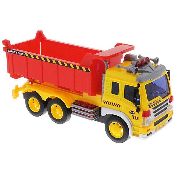Машина Dave Toys Junior Tracker Самосвал 1:16, свет, звукМашинки<br>Характеристики:<br><br>• возраст: от 3 лет;<br>• тип игрушки: водовоз;<br>• вес: 1,25 кг;<br>• масштаб: 1:16;<br>• цвет: желтый, красный;<br>• особенности: инерционная, световые, звуковые эффекты;<br>• материал: пластик, металл;<br>• размер: 32,6х11,5х18,6 см;<br>• тип упаковки: коробка;<br>• бренд: Dave Toys.<br><br>Самосвал 1:16  станет отличным подарком для мальчиков от трех лет и старше. Такой набор включает в себя большой бетономешалку желто-красного цвета.  Упаковка сделана подходит в качестве подарочной.<br><br>Особенность игрушки состоит в том, что машинка инерционная, а также имеет световые и звуковые эффекты. Коллекционные машинки порадуют любителей автогонок, ведь из них можно собрать целый автопарк. <br><br>Игрушка характеризуется механическим воздействием, детали машинки приводятся в движение, что создает реалистичные действия реально работающей машины спецтехники. Масштаб машины 1:16. Работает водовоз от батареек, которые находятся в комплекте.<br><br>Машинка сделана из безопасных материалов. Так же красители, которыми окрашены все части автомобиля являются гипоаллергенными и не навредят здоровью ребенка. Игрушка прошла все необходимые проверки и получили все сертификаты качества.<br><br>Самосвал 1:16 можно купить в нашем интернет-магазине.<br>Ширина мм: 326; Глубина мм: 115; Высота мм: 186; Вес г: 1250; Возраст от месяцев: 36; Возраст до месяцев: 120; Пол: Мужской; Возраст: Детский; SKU: 7322663;