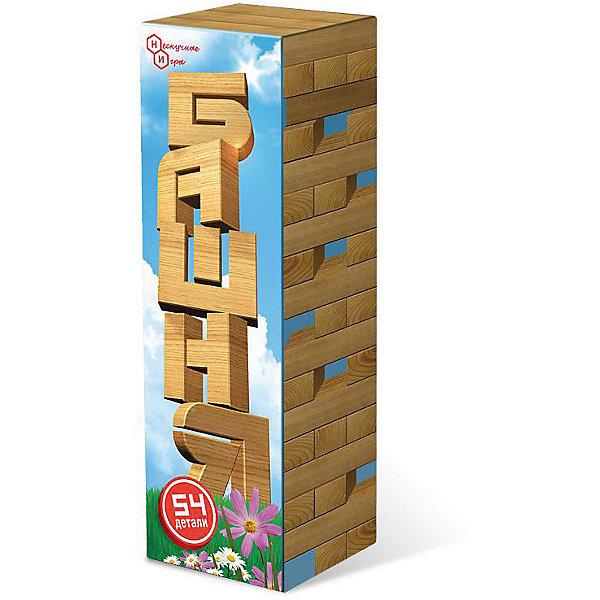 Башня 54 детали (дерево)Настольные игры для всей семьи<br>Характеристики:<br><br>• тип игрушки: настольная игра - дженга;<br>• комплектация: 54 брусочка;<br>• возраст: от 5 лет;<br>• вес: 425 гр;<br>• размер: 27,5x8,5x8,5 см;<br>• бренд: Бэмби;<br>• упаковка: картонная коробка;<br>• материал: дерево.<br><br>Настольная игра «Башня» 54 детали (дерево) предназначена для любителей настольных игр, рекомендована для детей от 5 лет. Набор состоит из 54 цельных деревянных брусков. Каждый брусок обтесан и отшлифован до абсолютной гладкости.<br>Принцип игры достаточно прост. Несколько игроков строят башню, поочередно накладывая бруски один поперечно другому, до тех пор, пока башня не рухнет. Игра подходит для времяпрепровождения всей семьей.  Игру можно усложнить, добавив несколько брусков на каждый этаж башни.<br><br>Настольную игру «Башня» 54 детали (дерево) можно купить в нашем интернет-магазине.<br><br>Ширина мм: 85<br>Глубина мм: 85<br>Высота мм: 270<br>Вес г: 965<br>Возраст от месяцев: 60<br>Возраст до месяцев: 2147483647<br>Пол: Унисекс<br>Возраст: Детский<br>SKU: 7323536