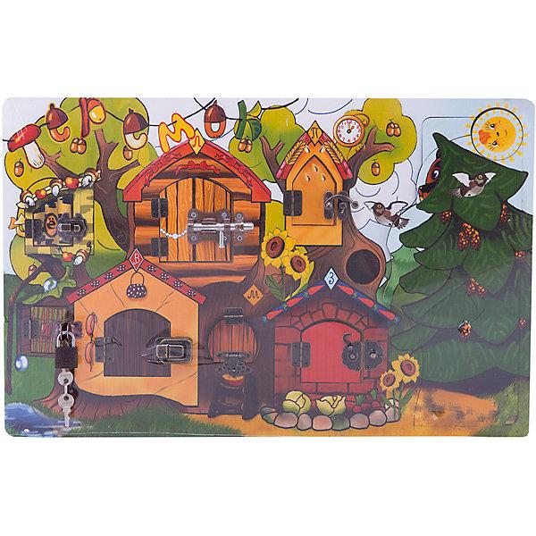 Замочки ТеремокДеревянные игрушки<br>Характеристики:<br><br>• тип игрушки: настольная игра;<br>• комплектация: игра, аксессуары;<br>• возраст: от 3 лет;<br>• вес: 1,5 кг;<br>• размер: 50x32x1,5 см;<br>• бренд: Бэмби;<br>• упаковка: картонная коробка;<br>• материал: дерево, металл.<br><br>Бизиборд «Замочки. Теремок» это игровая панель для развития мелкой моторики, внимания, воображения, усидчивости и логики Вашего малыша. В Теремке семь окошек с разнообразными защелками, задвижками и замочками, за которыми спрятаны герои известной сказки.<br><br>Вкладыши с изображением зверей легко вытаскиваются из доски, благодаря чему с ними можно поиграть отдельно. Также эта игрушка может выполнять функции рамки, ведь для каждого животного есть свой домик с отверстием, в котором необходимо правильно расположить вкладыш.<br><br>А еще можно заметить, что елка, за которой прячется медведь, является пазлом и состоит из 9 элементов, благодаря чему играть с такой игрушкой будет еще интереснее. Такая увлекательная развивающая игрушка порадует ребенка своим разнообразием и поспособствует тренировке логического мышления, а также мелкой моторики рук.<br><br>Бизиборд «Замочки.Теремок» можно купить в нашем интернет-магазине.<br>Ширина мм: 500; Глубина мм: 320; Высота мм: 15; Вес г: 1490; Возраст от месяцев: 36; Возраст до месяцев: 2147483647; Пол: Унисекс; Возраст: Детский; SKU: 7323538;