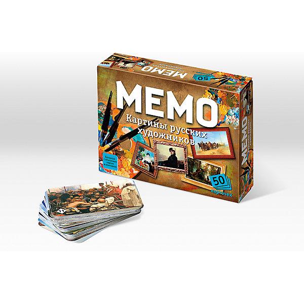 Мемо Картины русских художниковИгры мемо<br>Характеристики:<br><br>• тип игрушки: настольная игра;<br>• комплектация: 50 карточек;<br>• возраст: от 5 лет;<br>• размер: 17x2,5x4 см; <br>•бренд: Бэмби;<br>• издатель: Нескучные игры;<br>• упаковка: картонная коробка;<br>• материал: картон.<br><br>Мемо «Картины русских художников» – действительно интересная и удивительно полезная игра. Она с лёгкостью поднимет настроение большой и маленькой компании. «Мемо» - одна из тех редких игр, где успех чаще зависит от способностей и стараний игрока, чем от удачи.  Игра состоит из карточек с парными изображениями. Всего 25 пар (50 карточек). Вы и не заметите, как запомните всё, что изображено на карточках. Это игра, безусловно, расширяет кругозор, развивает внимание, тренирует память.<br><br>Все картины, представленные в нашей игре - это величайшие произведения искусства, хранящиеся в Государственном Русском музее в Санкт-Петербурге и Государственной Третьяковской галерее в Москве.<br><br>Мемо «Картины русских художников»  можно купить в нашем интернет-магазине.<br><br>Ширина мм: 170<br>Глубина мм: 125<br>Высота мм: 40<br>Вес г: 152<br>Возраст от месяцев: 60<br>Возраст до месяцев: 2147483647<br>Пол: Унисекс<br>Возраст: Детский<br>SKU: 7323551