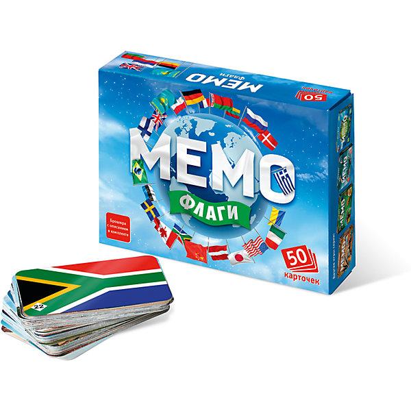 Мемо. ФлагиИгры мемо<br>Характеристики:<br><br>• тип игрушки: настольная игра;<br>• комплектация: 50 карточек;<br>• возраст: от 5 лет;<br>• размер: 17x2,5x4 см; <br>•бренд: Бэмби;<br>• издатель: Нескучные игры;<br>• упаковка: картонная коробка;<br>• материал: картон.<br><br>Мемо «Флаги» – действительно интересная и удивительно полезная игра. Она с лёгкостью поднимет настроение большой и маленькой компании. «Мемо» - одна из тех редких игр, где успех чаще зависит от способностей и стараний игрока, чем от удачи.  Игра состоит из карточек с парными изображениями. Это игра, безусловно, расширяет кругозор, развивает внимание, тренирует память.<br><br>Перед началом игры карточки перемешиваются и раскладываются на столе картинками вниз. Играют несколько игроков. В свой ход игрок переворачивает 2 любые карточки и показывает их остальным игрокам. Если карточки одинаковые, игрок забирает их себе и делает еще один ход. Если разные - переворачивает их и кладет обратно, а ход переходит к следующему игроку. Выигрывает игрок, собравший к концу игры наибольшее количество карточек. <br><br>Мемо «Флаги»  можно купить в нашем интернет-магазине.<br>Ширина мм: 170; Глубина мм: 125; Высота мм: 40; Вес г: 152; Возраст от месяцев: 60; Возраст до месяцев: 2147483647; Пол: Унисекс; Возраст: Детский; SKU: 7323555;