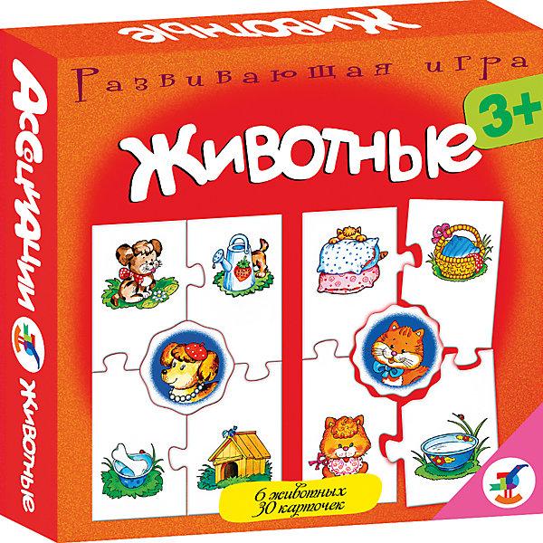 Ассоциации. ЖивотныеОбучающие карточки<br>Характеристики:<br><br>• тип игрушки: настольная игра;<br>• комплектация: 30 карточек, правила;<br>• возраст: от 3 лет;<br>• размер: 16,5x16,5x3 см;<br>• издатель: Дрофа;<br>• упаковка: картонная коробка;<br>• материал: картон.<br><br>Игра Ассоциации «Животные»  станет отличным помощником в формировании ассоциативного мышления детей. Игры способствуют развитию внимания и памяти, расширяют кругозор. Во всех играх нужно подобрать карточки, которые можно объединить по определенному признаку. Карточки соединяются друг с другом пазловым замком.<br><br>Увлекательная игра подойдет для детей от трех лет и старше. Она позволит провести время с пользой и узнать много нового. Все используемые материалы прошли проверку – они абсолютно безопасны для детей.  Яркая красная упаковка отлично подойдет в качестве подарка к празднику.<br><br>Игру Ассоциации «Животные»    можно купить в нашем интернет-магазине.<br><br>Ширина мм: 165<br>Глубина мм: 165<br>Высота мм: 30<br>Вес г: 150<br>Возраст от месяцев: 36<br>Возраст до месяцев: 2147483647<br>Пол: Унисекс<br>Возраст: Детский<br>SKU: 7323556
