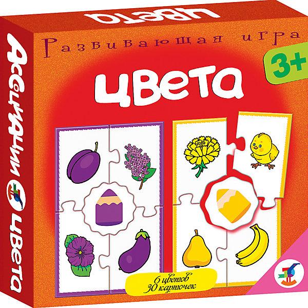 Ассоциации. ЦветаОбучающие карточки<br>Игра знакомит ребёнка с основными цветами: красным, жёлтым, синим, зелёным, оранжевым и фиолетовым,  развивает наблюдательность и навыки самоконтроля. Задача игрока — собрать вокруг центральной карточки с изображением цветного карандашика четыре карточки с предметами того же цвета. Фигурная форма карточек поможет проверить, правильно ли подобраны картинки: если допущена ошибка, пазловый замок не соединится.<br><br>Комплектация: 30 карточек, правила. <br>Возраст: 3—5 лет.<br><br>Ширина мм: 165<br>Глубина мм: 165<br>Высота мм: 30<br>Вес г: 150<br>Возраст от месяцев: 36<br>Возраст до месяцев: 2147483647<br>Пол: Унисекс<br>Возраст: Детский<br>SKU: 7323561
