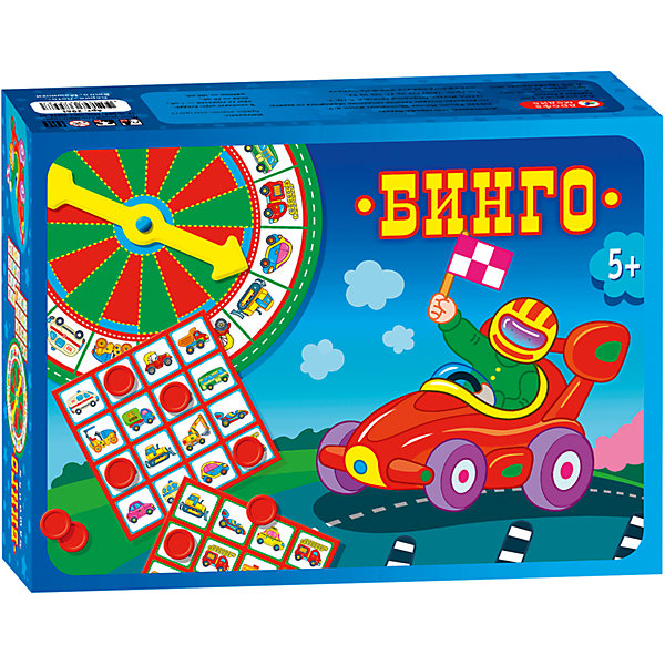 Бинго. МашинкиСпортивные настольные игры<br>Характеристики:<br><br>• тип игрушки: настольная игра;<br>• комплектация: круг с вращающейся стрелкой, 20 игровых полей, 100 пластмассовых жетонов;<br>• возраст: от 5 лет;<br>• размер: 18,5x26,5х6,5 см;<br>• издатель: Дрофа;<br>• упаковка: картонная коробка;<br>• материал: картон, пластмасса.<br><br>Игра Бинго «Машинки» - это своеобразная разновидность лото, в которой ведущий, вращая стрелку, случайным образом выбирает изображение машинки, а игроки закрывают соответствующие клетки на своих карточках жетонами. Первый игрок, закрывший все картинки на одной вертикали, горизонтали или диагонали, выкрикивает «Бинго!» и становится победителем.<br><br>В игре представлены сразу два варианта игровых карточек. В простом случае игрок просто закрывает выпавшую картинку. Это будет игра на внимание и удачу. А в более сложном варианте нужно будет выбирать между двумя одинаковыми изображениями на своем игровом поле: какую картинку закрыть выгоднее в данном случае? Тут уж не обойтись без логики и стратегии.<br><br>Такая игра развивает у ребенка скорость мышления и логику. Кроме того, с ней можно хорошо провести время в кругу семьи или друзей.<br><br>Игру Бинго «Машинки» можно купить в нашем интернет-магазине.<br>Ширина мм: 185; Глубина мм: 265; Высота мм: 65; Вес г: 700; Возраст от месяцев: 60; Возраст до месяцев: 2147483647; Пол: Унисекс; Возраст: Детский; SKU: 7323563;