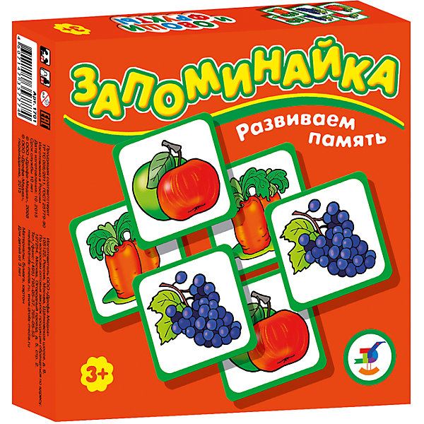 Запоминайка. Овощи и фруктыИгры мемо<br>Игры серии основаны на известном принципе «Memory»  и направлены на развитие внимания и памяти. Перед игроками изображением вниз разложены карточки. Задача игроков - по очереди открывать и закрывать по две карточки, стараясь найти одинаковые. Яркие, крупные карточки и забавные картинки делают игру привлекательной даже для самых маленьких детей.<br><br>В комплекте: 25 карточек, правила.<br>Возраст: 3—7 лет.<br><br>Ширина мм: 165<br>Глубина мм: 165<br>Высота мм: 30<br>Вес г: 150<br>Возраст от месяцев: 36<br>Возраст до месяцев: 2147483647<br>Пол: Унисекс<br>Возраст: Детский<br>SKU: 7323574