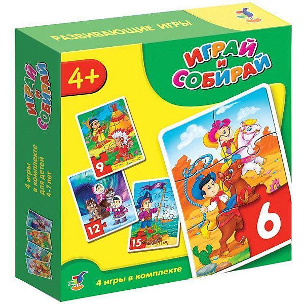 Играй и собирай. Арт. 2939 (пират, ковбои, индейцы, север)Пазлы для малышей<br>Характеристики:<br><br>• тип игрушки: мозаика;<br>• комплектация: четыре мозаики;<br>• возраст: от 4 лет;<br>• размер: 18,5x18х4 см;<br>• издатель: Дрофа;<br>• упаковка: картонная коробка;<br>• материал: картон.<br><br>Игра-мозаика «Играй и собирай. Пират, ковбои, индейцы, север» совсем не сложная и в то же время очень увлекательная. В комплект игры входит четыре карточки с тематическими изображениями. Каждая карточка собирается из различных фрагментов. Такой набор формирует навыки соединения деталей, развивает мелкую моторику рук и наглядно-образное мышление. Тренирует зрительную память.<br><br>Игры-мозаики учат детей собирать простые картинки, подбирать детали по форме и изображению, способствуют развитию наблюдательности, внимания, наглядно-образного мышления, усидчивости, мелкой моторики рук. В комплекте: 4 мозаики, состоящие из 6, 9, 12, 15 элементов.<br><br>Игру-мозаику «Играй и собирай. Пират, ковбои, индейцы, север» можно купить в нашем интернет-магазине.<br><br>Ширина мм: 180<br>Глубина мм: 185<br>Высота мм: 40<br>Вес г: 180<br>Возраст от месяцев: 48<br>Возраст до месяцев: 2147483647<br>Пол: Унисекс<br>Возраст: Детский<br>SKU: 7323576