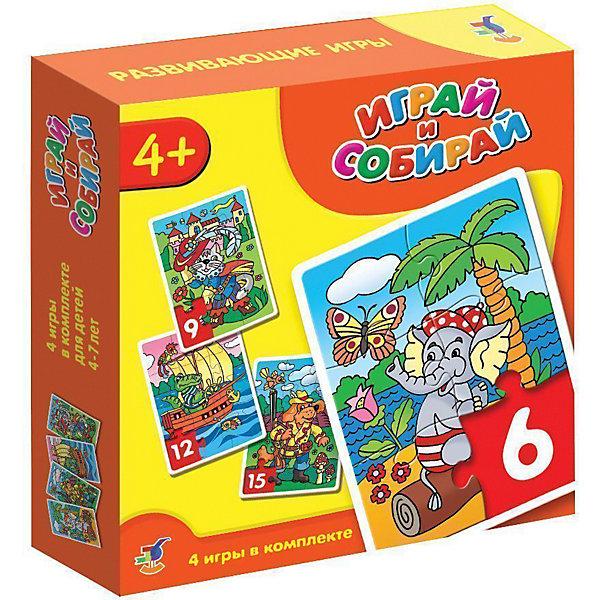 Играй и собирай. Арт. 2940 (кот, пес, крокодил, слон)Пазлы для малышей<br>Характеристики:<br><br>• тип игрушки: мозаика;<br>• комплектация: четыре мозаики;                                                                <br>• возраст: от 4 лет;<br>• размер: 18,5x18х4 см;<br>• издатель: Дрофа;<br>• упаковка: картонная коробка;<br>• материал: картон.<br><br>Игра-мозаика «Играй и собирай. Кот, пес, крокодил, слон» совсем не сложная и в то же время очень увлекательная. В комплект игры входит четыре карточки с тематическими изображениями. Каждая карточка собирается из различных фрагментов. Такой набор формирует навыки соединения деталей, развивает мелкую моторику рук и наглядно-образное мышление. Тренирует зрительную память.<br><br>Игры-мозаики учат детей собирать простые картинки, подбирать детали по форме и изображению, способствуют развитию наблюдательности, внимания, наглядно-образного мышления, усидчивости, мелкой моторики рук. В комплекте: 4 мозаики, состоящие из 6, 9, 12, 15 элементов.<br><br>Игру-мозаику «Играй и собирай. Кот, пес, крокодил, слон» можно купить в нашем интернет-магазине.<br>Ширина мм: 180; Глубина мм: 185; Высота мм: 40; Вес г: 180; Возраст от месяцев: 48; Возраст до месяцев: 2147483647; Пол: Унисекс; Возраст: Детский; SKU: 7323577;