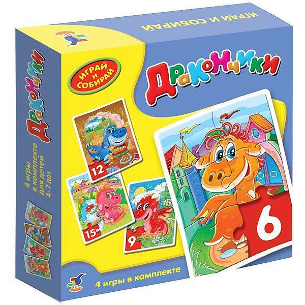 Играй и собирай. ДракончикиПазлы для малышей<br>Характеристики:<br><br>• тип игрушки: мозаика;<br>• комплектация: четыре мозаики;                                                                <br>• возраст: от 4 лет;<br>• размер: 18,5x18х4 см;<br>• издатель: Дрофа;<br>• упаковка: картонная коробка;<br>• материал: картон.<br><br>Игра-мозаика «Играй и собирай. Дракончики» совсем не сложная и в то же время очень увлекательная. В комплект игры входит четыре карточки с тематическими изображениями. Каждая карточка собирается из различных фрагментов. Такой набор формирует навыки соединения деталей, развивает мелкую моторику рук и наглядно-образное мышление. Тренирует зрительную память.<br><br>Игры-мозаики учат детей собирать простые картинки, подбирать детали по форме и изображению, способствуют развитию наблюдательности, внимания, наглядно-образного мышления, усидчивости, мелкой моторики рук. В комплекте: 4 мозаики, состоящие из 6, 9, 12, 15 элементов.<br><br>Игру-мозаику «Играй и собирай. Дракончики» можно купить в нашем интернет-магазине.<br>Ширина мм: 180; Глубина мм: 185; Высота мм: 40; Вес г: 225; Возраст от месяцев: 48; Возраст до месяцев: 2147483647; Пол: Унисекс; Возраст: Детский; SKU: 7323579;