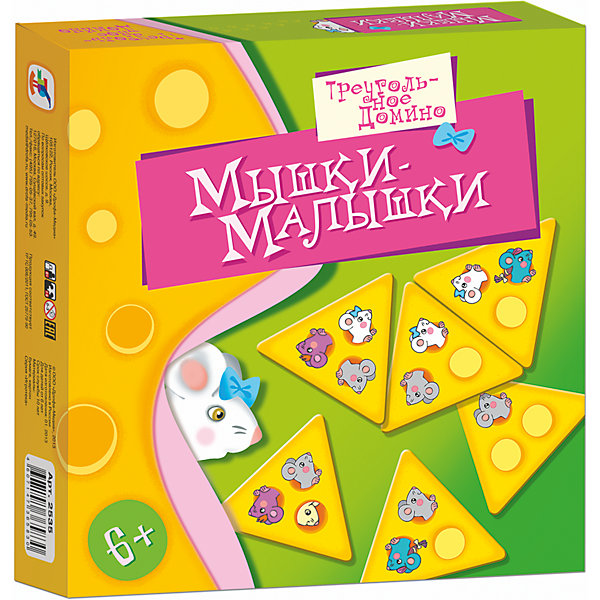 Игротека. Мышки-малышкиНастольные игры для всей семьи<br>Характеристики:<br><br>• тип игрушки: настольная игра;<br>• возраст: от 6 лет;<br>• комплектация: 60 игровых карточек, правила;<br>• размер: 19x20х3 см;<br>• издатель: Дрофа;<br>• упаковка: картонная коробка;<br>• материал: картон.<br><br>Игра «Игротека. Мышки-малышки» разработана для детей от 6 лет.  Мышки-малышки очень любят прогрызать норки в сыре: в игре вам предстоит соединить их многочисленные ходы в один большой лабиринт. Игра-домино в необычном «треугольном» исполнении порадует как детей, так и взрослых, поможет весело провести досуг, разовьёт логическое мышление, наблюдательность.<br><br>В игре участвуют 1 -6 человек. Взрослый ведущий объясняет правила детям, проверяет, правильно ли сделан каждый ход, записывает заработанные очки. Игра заканчивается, когда у одного из игроков закончатся карточки и в банке их тоже нет. Он становится победителем.<br><br>Игру «Игротека. Мышки-малышки» можно купить в нашем интернет-магазине.<br><br>Ширина мм: 190<br>Глубина мм: 200<br>Высота мм: 30<br>Вес г: 180<br>Возраст от месяцев: 72<br>Возраст до месяцев: 2147483647<br>Пол: Унисекс<br>Возраст: Детский<br>SKU: 7323589