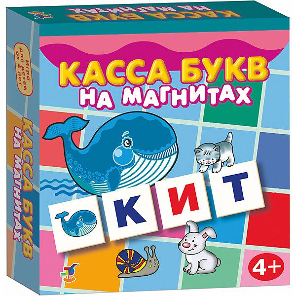Магнит в коробке. Касса букв на магнитахКасса букв<br>Характеристики:<br><br>• тип игрушки: магнитная;<br>• комплектация: 96 карточек;<br>• возраст: от 4 лет;<br>• размер: 18x18х3 см;<br>• издатель: Дрофа;<br>• упаковка: картонная коробка;<br>• материал: магнит, картон.<br><br>Игра «Магнит в коробке. Касса букв на магните» совсем не сложная и в то же время очень увлекательная. В комплект игры входит 96 карточек с тематическими изображениями. Игра представляет собой готовые к использованию, разрезанные карточки с приклеенными сзади магнитами, которые можно прикрепить на холодильник или магнитную доску.<br><br>Касса знакомит с буквами и звуками, учит определять первый звук в слове, читать и составлять слова, развивает наблюдательность и внимание, может стать прекрасным методическим пособием как для родителей, так и для воспитателей и учителей. На карточках изображены не только буквы, но и названия предметов, которые из этих букв можно собрать. Таким образом можно давать ребенку карточку с предметом и просить его составить буквенное обозначение и наоборот.<br><br>Все материалы, из которых изготовлены карточки, являются гипоаллергенными и прошли все необходимые для детских игрушек проверки на соответствие стандартам качества.<br><br>Игру «Магнит в коробке. Касса букв на магните» можно купить в нашем интернет-магазине.<br><br>Ширина мм: 180<br>Глубина мм: 180<br>Высота мм: 40<br>Вес г: 170<br>Возраст от месяцев: 48<br>Возраст до месяцев: 2147483647<br>Пол: Унисекс<br>Возраст: Детский<br>SKU: 7323593