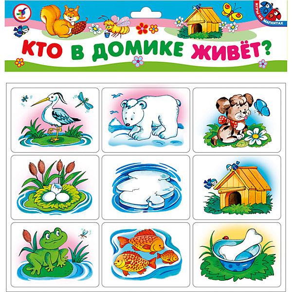Магнит.Кто в домике живет?Обучающие карточки<br>Характеристики:<br><br>• тип игрушки: магнитная;<br>• комплектация: 18 карточек;<br>• возраст: от 3 лет;<br>• размер: 21,5x29х3 см;<br>• издатель: Дрофа;<br>• упаковка: картонная;<br>• материал: магнит, картон.<br><br>Игра «Магнит. Кто в домик живет?» совсем не сложная и в то же время очень увлекательная. В комплект игры входит 18 карточек с тематическими изображениями. Игра представляет собой готовые к использованию, разрезанные карточки с приклеенными сзади магнитами, которые можно прикрепить на холодильник или магнитную доску.<br><br>Карточки на магнитах прекрасно подходят для обучения и развития детей как дома, так и в детском саду или школе. Игрок должен подобрать три карточки, связанные следующей ассоциацией: животное — место обитания — пища. На карточках изображены знакомые ребёнку животные: котёнок и щенок, белочка и пчела, цапля и белый медведь. Игра развивает ассоциативное мышление, внимание, расширяет кругозор, обогащает словарный запас.<br><br>Все материалы, из которых изготовлены карточки, являются гипоаллергенными и прошли все необходимые для детских игрушек проверки на соответствие стандартам качества.<br><br>Игру «Магнит. Кто в домик живет?» можно купить в нашем интернет-магазине.<br>Ширина мм: 215; Глубина мм: 290; Высота мм: 3; Вес г: 90; Возраст от месяцев: 36; Возраст до месяцев: 2147483647; Пол: Унисекс; Возраст: Детский; SKU: 7323595;