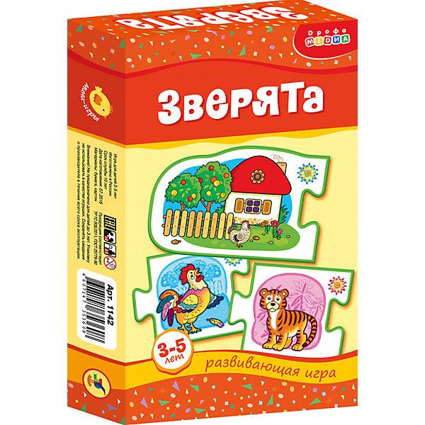МИ. Зверята.Обучающие карточки<br>Характеристики:<br><br>• тип игрушки: настольная;<br>• комплектация: 20 карточек, правила;                                                                <br>• возраст: от 3 лет;<br>• размер: 12x20х3,5 см;<br>• издатель: Дрофа;<br>• упаковка: картонная коробка;<br>• материал: картон.<br><br>Игра «МИ. Зверята» совсем не сложная и в то же время очень увлекательная. В комплект игры входит 20 карточек с тематическими изображениями и правила. Игра представляет собой готовые к использованию, разрезанные карточки с пояснениями на обратной стороне. <br><br>Игра-ассоциация знакомит ребёнка с основными группами животных (дикими и домашними; птицами) и местами их обитания. Ребенок научится самостоятельно рассуждать, сопоставлять, сравнивать, анализировать. В процессе игры совершенствуется мелкая моторика рук, что в будущем поможет ребенку овладеть письмом.<br><br>Все материалы, из которых изготовлены карточки, являются гипоаллергенными и прошли все необходимые для детских игрушек проверки на соответствие стандартам качества. <br><br>Игру «МИ. Зверята» можно купить в нашем интернет-магазине.<br><br>Ширина мм: 120<br>Глубина мм: 200<br>Высота мм: 35<br>Вес г: 130<br>Возраст от месяцев: 36<br>Возраст до месяцев: 2147483647<br>Пол: Унисекс<br>Возраст: Детский<br>SKU: 7323603