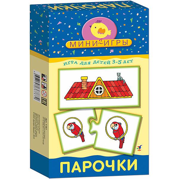 МИ. ПарочкиОбучающие карточки<br>Характеристики:<br><br>• тип игрушки: настольная;<br>• комплектация: 51 карточка, правила;                                                                <br>• возраст: от 3 лет;<br>• размер: 12x20х3,5 см;<br>• издатель: Дрофа;<br>• упаковка: картонная коробка;<br>• материал: картон.<br><br>Игра «МИ. Парочки» совсем не сложная и в то же время очень увлекательная. В комплект игры входит 51 карточка и правила. Игра представляет собой готовые к использованию, разрезанные карточки с пояснениями на обратной стороне. <br><br>Игра учит обобщать и сравнивать предметы по величине, ориентироваться в основных цветах, знакомит с цифрами от 1 до 5 и счётом в пределах 5, способствует развитию мышления, внимания, восприятия зрительной информации, мелкой моторики.<br> Все материалы, из которых изготовлены карточки, являются гипоаллергенными и прошли все необходимые для детских игрушек проверки на соответствие стандартам качества. <br><br>Игру «МИ. Парочки» можно купить в нашем интернет-магазине.<br><br>Ширина мм: 120<br>Глубина мм: 200<br>Высота мм: 35<br>Вес г: 140<br>Возраст от месяцев: 36<br>Возраст до месяцев: 2147483647<br>Пол: Унисекс<br>Возраст: Детский<br>SKU: 7323611