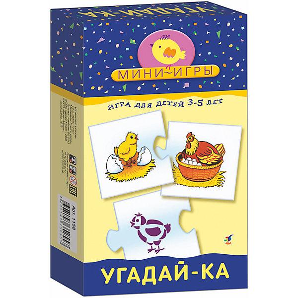 МИ. Угадай-ка.Обучающие карточки<br>Характеристики:<br><br>• тип игрушки: настольная;<br>• комплектация: 36 карточек, правила;                                                                <br>• возраст: от 3 лет;<br>• размер: 12x20х3,5 см;<br>• издатель: Дрофа;<br>• упаковка: картонная коробка;<br>• материал: картон.<br><br>Игра «МИ. Угадай-ка» совсем не сложная и в то же время очень увлекательная. В комплект игры входит 20 карточек и правила. Игра представляет собой готовые к использованию, разрезанные карточки с пояснениями на обратной стороне. <br><br>Игра учит находить «скрытые» детали и соотносить цветное изображение с контурным, развивает зрительное восприятие, внимание, наблюдательность, навыки самопроверки. В инструкции описано два варианта игры. <br><br> Все материалы, из которых изготовлены карточки, являются гипоаллергенными и прошли все необходимые для детских игрушек проверки на соответствие стандартам качества. <br><br>Игру «МИ. Угадай-ка» можно купить в нашем интернет-магазине.<br>Ширина мм: 120; Глубина мм: 200; Высота мм: 35; Вес г: 165; Возраст от месяцев: 36; Возраст до месяцев: 2147483647; Пол: Унисекс; Возраст: Детский; SKU: 7323619;