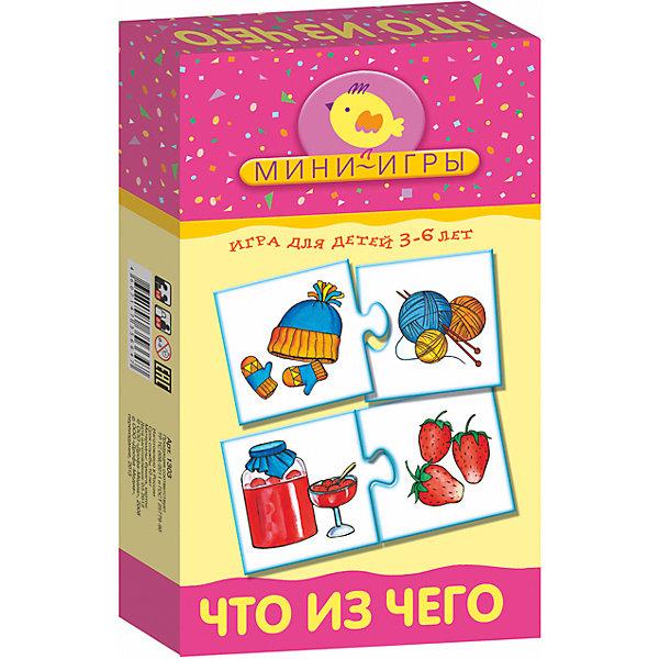 МИ. Что из чегоОбучающие карточки<br>Характеристики:<br><br>• тип игрушки: настольная;<br>• комплектация: 30 карточек, правила;                                                                <br>• возраст: от 3 лет;<br>• размер: 12x20х3,5 см;<br>• издатель: Дрофа;<br>• упаковка: картонная коробка;<br>• материал: картон.<br><br>Игра «МИ. Что из чего» совсем не сложная и в то же время очень увлекательная. В комплект игры входит 30 карточек и правила. Игра представляет собой готовые к использованию, разрезанные карточки с пояснениями на обратной стороне. <br>Игра учит составлять логические цепочки, используя принцип «что из чего», знакомит с различными материалами, из которых изготовлены предметы, развивает мышление и наблюдательность.<br><br>Все материалы, из которых изготовлены карточки, являются гипоаллергенными и прошли все необходимые для детских игрушек проверки на соответствие стандартам качества. <br><br>Игру «МИ. Что из чего» можно купить в нашем интернет-магазине.<br>Ширина мм: 120; Глубина мм: 200; Высота мм: 35; Вес г: 140; Возраст от месяцев: 36; Возраст до месяцев: 2147483647; Пол: Унисекс; Возраст: Детский; SKU: 7323623;