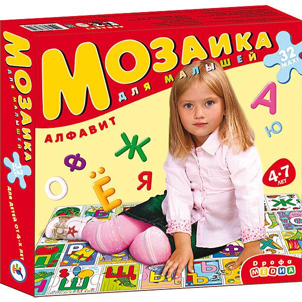 Мозаика для малышей. АлфавитПазлы для малышей<br>Характеристики:<br><br>• тип игрушки: настольная игра;<br>• комплектация: 32 больших детали;                                                                <br>• возраст: от 4 лет;<br>• размер: 16,5x27,5х4 см;<br>• издатель: Дрофа;<br>• упаковка: картонная коробка;<br>• материал: картон.<br><br>Игра «Мозаика для малышей. Алфавит» разработана для детей от 4 лет. Современные, яркие, оригинальные рисунки и крупные элементы мозаики обязательно привлекут внимание детей. Собирая мозаику, они не только научатся подбирать подходящие друг другу фрагменты рисунка и складывать целое изображение, но и познакомятся с буквами, запомнят порядок их расположения в алфавите. <br><br>Игра развивает зрительное восприятие, логическое мышление и мелкую моторику. Картинку удобно собирать, сидя на полу или за столом. Времяпрепровождение станет не только увлекательным, но и полезным.<br><br>Игру «Мозаика для малышей. Алфавит»  можно купить в нашем интернет-магазине.<br>Ширина мм: 265; Глубина мм: 275; Высота мм: 50; Вес г: 500; Возраст от месяцев: 48; Возраст до месяцев: 2147483647; Пол: Унисекс; Возраст: Детский; SKU: 7323626;