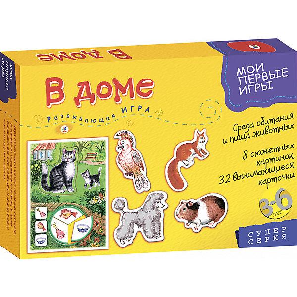 МПИ. В домеОбучающие карточки<br>Характеристики:<br><br>• тип игрушки: настольная игра;<br>• комплектация: 8 сюжетных картинок, 32 вынимающиеся карточки, правила;                                                                <br>• возраст: от 3 лет;<br>• размер: 28x19,5х3,5 см;<br>• издатель: Дрофа;<br>• упаковка: картонная коробка;<br>• материал: картон.<br><br>Игра «МПИ. В доме» разработана для детей от 3 лет. Она познакомит  ребенка с жизнью домашних животных, расскажет об условиях их жизни в городе, рационе питания. Игра расширяет кругозор, способствует развитию произвольного внимания, логического мышления, памяти, активизирует речь и пополняет словарь, совершенствует мелкую моторику.<br><br>Времяпрепровождение станет не только увлекательным, но и полезным. Серия игр включает в себя разные тематики, поэтому можно собрать коллекцию. Материалы прошли проверку, поэтому считаются абсолютно безвредными для детей разного возраста. <br><br>Игру «МПИ. В доме»  можно купить в нашем интернет-магазине.<br>Ширина мм: 280; Глубина мм: 195; Высота мм: 35; Вес г: 225; Возраст от месяцев: 36; Возраст до месяцев: 2147483647; Пол: Унисекс; Возраст: Детский; SKU: 7323634;