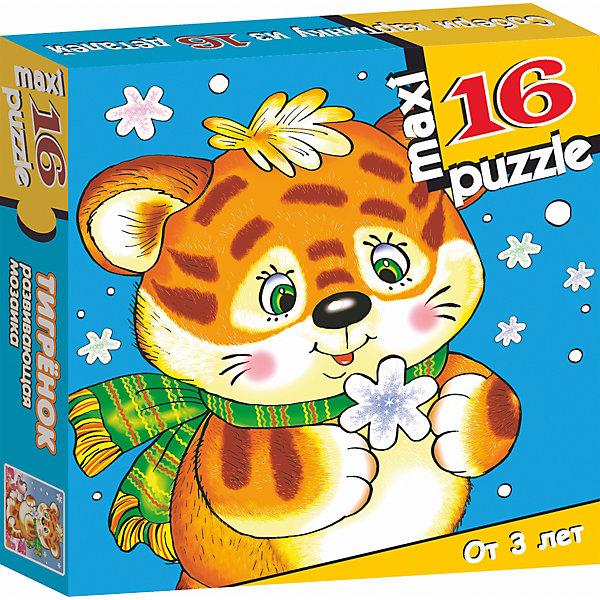 Развивающая мозаика. ТигрёнокПазлы для малышей<br>Характеристики:<br><br>• тип игрушки: настольная игра;<br>• комплектация: 16 деталей;                                                                <br>• возраст: от 3 лет;<br>• размер: 16,5x16,5х3 см;<br>• издатель: Дрофа;<br>• упаковка: картонная коробка;<br>• материал: картон.<br><br>Игра «Развивающая мозаика.Тигренок» разработана для детей от 3 лет. Крупные и яркие детали мозаики привлекут внимание даже самых маленьких детей. Собирая картинку из 16 частей, малыш учится соотносить отдельные элементы и целое изображение, подбирать фрагменты по цвету и форме. <br><br>Игра развивает наблюдательность, усидчивость, зрительное восприятие. Постоянно манипулируя деталями мозаики, ребёнок совершенствует мелкую моторику рук. Кроме того, каждый малыш испытает восторг, доведя дело до конца. Крупные детали не потеряются и легко скрепляются между собой.<br><br>Игру «Развивающая мозаика. Тигренок» можно купить в нашем интернет-магазине.<br>Ширина мм: 165; Глубина мм: 165; Высота мм: 30; Вес г: 155; Возраст от месяцев: 36; Возраст до месяцев: 2147483647; Пол: Унисекс; Возраст: Детский; SKU: 7323657;
