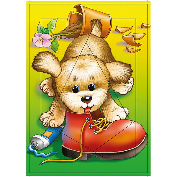 РР. Щенок. Прямолинейный разрез до 10эл.Пазлы для малышей<br>Характеристики:<br><br>• тип игрушки: настольная игра;<br>• комплектация: детали;                                                                <br>• возраст: от 3 лет;<br>• размер: 28,5x20х3 см;<br>• издатель: Дрофа;<br>• упаковка: картонная коробка;<br>• материал: картон.<br><br>Игра «РР. Щенок» разработана для детей от 3 лет. С разрезными картинками малыш научится подбирать подходящие по форме фрагменты рисунка и складывать их в целое изображение. Элементы мозаики выкладываются на рамку, которая поможет малышу видеть, что он делает правильно, а над чем ещё нужно подумать. Контуры деталей собираемой картинки, повторяющиеся на рамке, позволят не ошибиться в подборе правильного элемента, а картинка-подсказка поможет справиться с заданием самостоятельно.<br><br>Игры научат ребёнка усидчивости, умению доводить начатое дело до конца, помогут развить внимание, память, образное и логическое мышление, сенсорно-моторную координацию движения рук. Разная величина и форма собираемых элементов картинки способствуют развитию мелкой моторики, которая напрямую влияет на развитие речи и интеллектуальных способностей. В дальнейшем хорошая координация движений рук поможет ребёнку легко овладеть письмом. <br><br>Игру «РР. Щенок» можно купить в нашем интернет-магазине.<br>Ширина мм: 285; Глубина мм: 200; Высота мм: 3; Вес г: 120; Возраст от месяцев: 36; Возраст до месяцев: 2147483647; Пол: Унисекс; Возраст: Детский; SKU: 7323672;