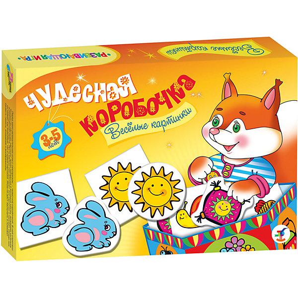 Чудесная коробочка. Веселые картинкиОбучающие карточки<br>Увлекательная игра с сюрпризом — «чудесной коробочкой». В ней спрятаны карточки с разнообразными картинками природных объектов, животных, растений и предметов, окружающих малыша или знакомых ему только по книжкам. Игра развивает речь, память, интерес к окружающему миру.<br><br>В комплекте: коробочка из картона (для самостоятельной сборки), 72 карточки, правила.<br>Возраст: 3—5 лет.<br><br>Ширина мм: 280<br>Глубина мм: 195<br>Высота мм: 35<br>Вес г: 240<br>Возраст от месяцев: 36<br>Возраст до месяцев: 2147483647<br>Пол: Унисекс<br>Возраст: Детский<br>SKU: 7323681