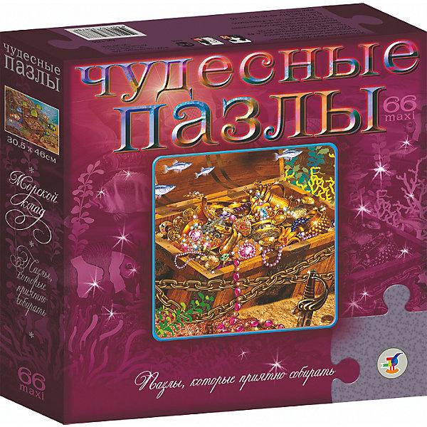 Чудесные пазлы. Морской кладПазлы для малышей<br>Характеристики:<br><br>• тип игрушки: настольная игра;<br>• возраст: от 5 лет;<br>• комплектация: 66 деталей;<br>• размер: 22x22х5 см;<br>• издатель: Дрофа;<br>• упаковка: картонная коробка;<br>• материал: картон.<br><br>Игра «Чудесные пазлы. Морской клад» разработана для детей от 5 лет. <br>Яркие, сказочные образы, благородное сочетание красок и загадочное мерцание поверхности, создаваемое голографической плёнкой, притягивают взгляд и завораживают своим совершенством. Складывая картинки, вы окунётесь в мир тайн и загадок.<br><br>Данные пазлы относятся к новой особой серии «Чудесные». Необычная их особенность заключается в том, что они имеют специальный голографический эффект, позволяющий поверхности собранной картинки красиво переливаться разнообразными цветами. В процессе сборки ребенок сможет развить внимательность, воображение, мелкую моторику. В готовая картинки в рамке послужит достойным украшением для детской комнаты.<br><br>Игру «Чудесные пазлы. Морской клад» можно купить в нашем интернет-магазине.<br><br>Ширина мм: 220<br>Глубина мм: 220<br>Высота мм: 50<br>Вес г: 240<br>Возраст от месяцев: 60<br>Возраст до месяцев: 2147483647<br>Пол: Унисекс<br>Возраст: Детский<br>SKU: 7323685