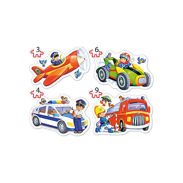 Пазл 4 в 1 Castorland Профессии, 3/4/6/9 деталейПазлы для малышей<br>Характеристики товара:<br><br>• возраст: от 3 лет;<br>• из чего сделана игрушка (состав): картон; <br>• количество деталей: 22 шт;<br>• размер готового пазла: 16,5х11 см;<br>• размер упаковки: 17,5х13х3,7 см;<br>• упаковка: картонная коробка;<br>• вес: 110 гр.;<br>• страна производителя: Польша.<br><br>Пазл Профессии 4 в 1 — прекрасный тренажер для развития памяти, логики и пространственного мышления. После того, как ребенок соберет головоломку, он познакомится с летчиком, гонщиком, пожарным и полицейским. Теперь можно рассказать родителям, чем занимаются люди этих профессий или придумать увлекательные истории с их участием. <br><br>Изображения состоят из малого количества деталей, а значит, идеально подойдут для тех, кто только начал осваивать искусство сборки картинок из нескольких частей.<br> <br>Пазл «Профессии» 4 в 1 Castorland можно купить в нашем интернет-магазине.<br>Ширина мм: 175; Глубина мм: 130; Высота мм: 37; Вес г: 110; Возраст от месяцев: 36; Возраст до месяцев: 2147483647; Пол: Унисекс; Возраст: Детский; SKU: 7323840;