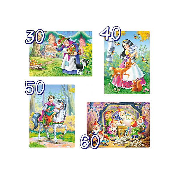 Купить Пазл 4 в 1 Castorland Белосгежка и 7 гномов , 30/40/50/60 деталей, Польша, Женский