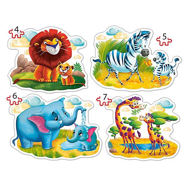 Пазл 4 в 1 Castorland Животные Африки, 4/5/6/7 деталейПазлы для малышей<br>Характеристики товара:<br><br>• возраст: от 3 лет;<br>• количество деталей: 22 шт; <br>• из чего сделана игрушка (состав): картон;<br>• размер упаковки: 24,5,5х17,5х3,7 см;<br>• упаковка: картонная коробка;<br>• вес: 200 гр.;<br>• страна производителя: Польша.<br><br>Пазл Животные от компании Castorland обязательно понравится многим детям. Комплект набора содержит оригинальные элементы, с помощью которых дети смогут собрать четыре отдельные картинки с мультипликационным изображением диких животных Африки со своими детенышами. <br><br>Красочные поделки превосходно украсят интерьер комнаты ребенка и привлекут восторженные взоры окружающих. Сборка этих пазлов поспособствует развитию массы полезных навыков и отлично разнообразит игровой досуг детей.<br><br>Пазл изготовлен из качественного плотно спрессованного картона. Все детали имеют ровные края, поэтому легко соединяются друг с другом, образуя ровное полотно.<br> <br>Пазл «Животные Африки 4-5-6-7» Castorland можно купить в нашем интернет-магазине.<br><br>Ширина мм: 245<br>Глубина мм: 175<br>Высота мм: 37<br>Вес г: 200<br>Возраст от месяцев: 36<br>Возраст до месяцев: 2147483647<br>Пол: Унисекс<br>Возраст: Детский<br>SKU: 7323842