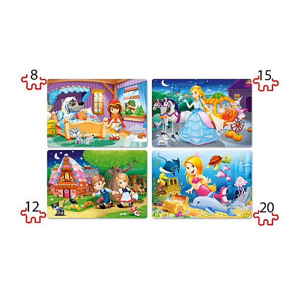 Пазл 4 в 1 Castorland Красивые сказки, 8/12/15/20 деталейПазлы для малышей<br>Характеристики товара:<br><br>• возраст: от 3 лет;<br>• количество деталей: 55 шт; <br>• из чего сделана игрушка (состав): картон;<br>• размер упаковки: 24,5х17,5х3,7 см;<br>• упаковка: картонная коробка;<br>• размер 1 пазла: 29х19,7 см.<br>• вес: 200 гр.;<br>• страна производителя: Польша.<br><br>Пазл 4 в 1 Сказки от бренда Castroland может понравиться девочкам и мальчикам красивыми волшебными картинками. Из 55 элементов можно собрать 4 разных пазла и увидеть сюжеты из замечательных сказок: Красная шапочка, Золушка, Русалочка, Пряничный домик. <br><br>В процессе увлекательной сборки деталей дети смогут развить внимание, мышление, логику, усовершенствовать координацию движений.<br> <br>Пазл 4 в 1 «Красивые сказки» от бренда Castroland можно купить в нашем интернет-магазине.<br>Ширина мм: 245; Глубина мм: 175; Высота мм: 37; Вес г: 200; Возраст от месяцев: 36; Возраст до месяцев: 2147483647; Пол: Унисекс; Возраст: Детский; SKU: 7323846;