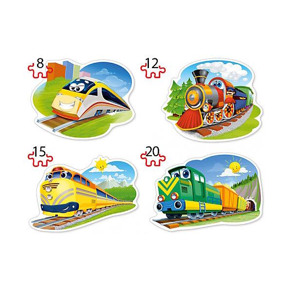 Пазл 4 в 1 Castorland Забавные паровозики, 8/12/15/20 деталейПазлы для малышей<br>Характеристики товара:<br><br>• возраст: от 3 лет;<br>• количество деталей: 55 шт; <br>• комплект: 4 картинки;<br>• из чего сделана игрушка (состав): картон;<br>• размер упаковки: 24,5х17,5х3,7 см;<br>• упаковка: картонная коробка;<br>• вес: 200 гр.;<br>• страна производителя: Польша.<br><br>С увлекательным пазлом Забавные паровозики ребенок сможет собрать 4 картинки с изображением веселых поездов. Чтобы выложить 4 картинки, ребенку предоставляется 55 элементов. Собрать их не составит никакого труда, ведь все детали пазла соединяются между собой легко и быстро. Сделаны они из плотного картона, который позволит выкладывать картины неоднократно.<br> <br>Пазл 4 в 1 «Забавные паровозики» от бренда Castroland можно купить в нашем интернет-магазине.<br>Ширина мм: 245; Глубина мм: 175; Высота мм: 37; Вес г: 200; Возраст от месяцев: 36; Возраст до месяцев: 2147483647; Пол: Унисекс; Возраст: Детский; SKU: 7323848;